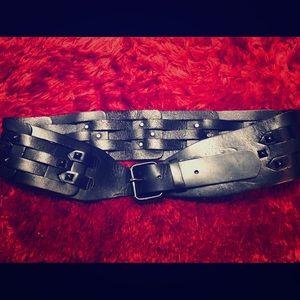 Beautiful Black BCBGMaxAzria Wide Leather Belt Med